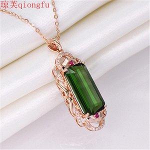 Anhänger Halsketten Qiong Fu 2021 Personalisierte Mode Green Turnaline Edelstein Weibliche Geschenk Brust Benutzerdefinierte Freundschaft Jewlery Charms