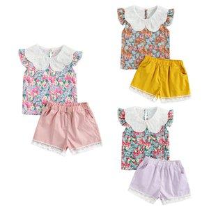 Прекрасные детские девушки летняя одежда для одежды Цветы напечатанные кружева Питер Pan Wollect T рубашки шорты 2 шт. 1-5Y