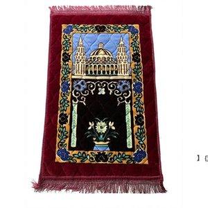Thicken Cashmere Muslim Prayer Carpets High-end Chenille Worship Carpet 110*70cm Islamic Musallah Rugs Arab Anti-slip Mat sea ship BWE6356