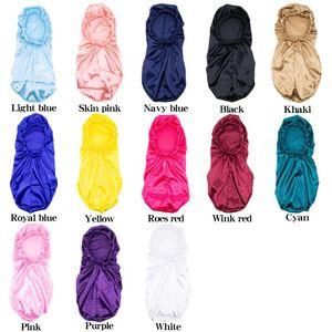 Color Stin Hat Bathroom Shower Cap Sleep Headwear Set Solid Extra Large Long Silky Night Beanie Skull Caps