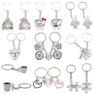 Keychains Two Pieces Love Rabbit Frog Cup Male Ms Arrow Palm Animal Heart Keychain Couple Friend Jewelry Poison