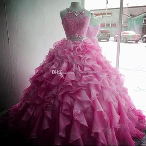 2021 Two Piece Round Neck Women Quinceanera Dress Organza Corset Lace up Back Debutante Beaded Waist Prom Floor Length Crystals Rhinestons Cascading Ruffles Sheer