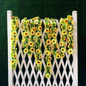 2m Artificial Yellow Sunflower Garland Silk Wedding Flowers Arch Gazebo Decor Vines Party Decoration Decorative & Wreaths