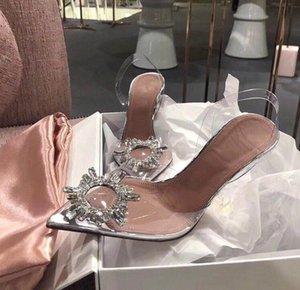 Artı Boyutu 35 -41 Gümüş Rhinestone PVC Temizle Şeffaf Ayakkabı Kadın Sivri Burun Gelin Düğün Ayakkabı Yüksek Topuk Pompalar