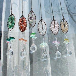 HD целительные камни Crystal Suncatcher лист в форме подвеска окна висит орнамент домашний сад декор сзади зеркало зеркало автомобиля чарные украшения