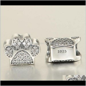 Fits Pandora Bracelets Dogs Paw Print Cats Silver Charm Bead Animal Footprint Loose Beads Wholesale S2Npr Gibar