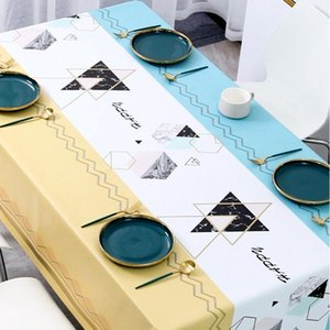 Table Cloth Geometric Tablecloth Leaves Pattern Waterproof Dinning Cover Wedding Party Rectangular Home Kitchen Decor