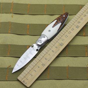 Damascus Steel Snake Handle Camping Hunting Survival Self Defense Folding Knife EDC Tool