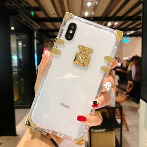 Designer Fashion Square Clear Cell Phone Cases Bling Metal Crystal Cover Protective shell For iphone 12 11 Pro Max XR XS 8 7 6 Plus