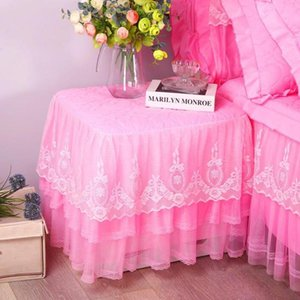 Table Cover Romantic Lace Bedside Cabinet Table Covers Quilted Dust Cover Bedroom Bedside Table Skirt Cotton Padding Tablecloth SEA HHC4679