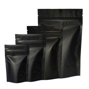 Isı Mühür Fermuar Paket Çanta Alüminyum Folyo Mylar Gözyaşı Çentik Mat Siyah Stand Up Çanta Toptan LX3649