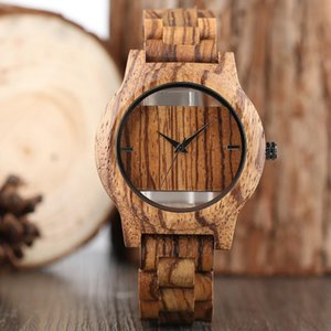 Wristwatches 2021 Creative Hollow Dial Full Natural Bamboo Wood Watch Men's Handmade Quartz Watches Minimalist Men Gift Relogio Masculino