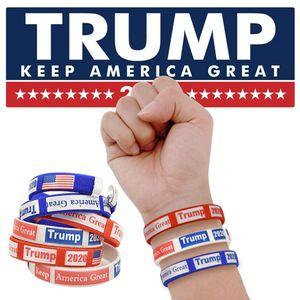 Fashion Trump 2020 Wristband Creative Silicone Sports Bracelet Rubber Fitness US Flag Wristband Party Festival Gift LJJT1459
