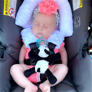 A856 Baby Head Support Pillow Headrest with Matching Seat Belt Strap Covers Baby Carseat Head Support Strap Covers for Infant Carrier