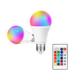 RGB LED Light Bulb AC85-265V Smart Lighting Lamp Color Change Dimmable With IR Remote Controller 10W Smart Bulb