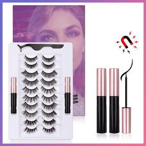 Magnetic Eyelashes Magnetic Liquid Eyeliner Kit with Tweezers 10 Pairs Upgraded 5D False Lashes Natural Reusable No Glue Needed