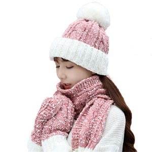 Woman Winter Scarf Gloves Three Pieces Casual Hat Lovely Knitted Long +beanie Sets Girls Head Wear Cap Collar Strip Beanie Skull Caps