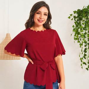 Women's Blouses & Shirts 2021 Summer Top T-Shirts Wine Red Sweet Petal Collar Bow Tie Sashes Flared Sleeves High Waist Elegant Clothes