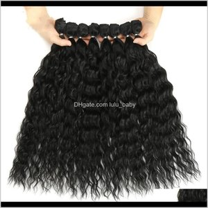 High Quality Curly Water Wave Bundles With Closure Ombre Blonde Silver Grey 9Pcspack 20Inch Fiber Ebavl Wigs 508Bx