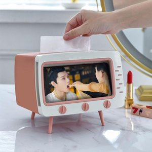 Tissue Boxes & Napkins Creative Box Vintage TV Shape Facial Paper Holder Plastic Wipes Livingroom Multipurpose Dispenser Phone Stand