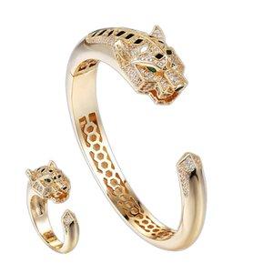 Powerful luxury leopard personality men like bracelet ring set opening design size average package transportation fee