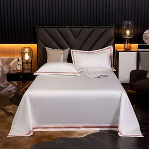 Sheets & Sets ABAY Bed Flat Sheet Without Elastic Band Top 1000TC Egyptian Cotton Embroidered Edge White Color High Quality
