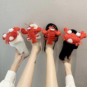 Femmes pantoufles d'hiver coton mignon écrevisses plateforme plateforme hiver intérieur chambre soft pantoufles femmes chaises chaudes hiver chaussures mtx90 210624