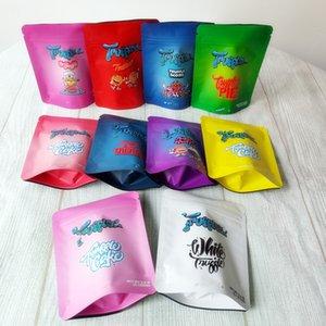 3.5G 냄새 증거 쿠키 백 화이트 트러프 스코 티 케이크 파이 Tiuffulle 가방 Childproof 지퍼 패키지 플라워 Mylar 식용 백 기