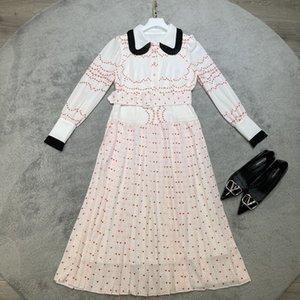 2021 Long Sleeve Lapel Neck Print Fashion Milan Runway Dress Designer Dress Brand Same Style Dress 0318-21