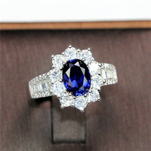 Female Natural Blue Sappphire Ring Real 925 Sterling Silver Engagement Ring Crystal Solitaire Wedding Rings For Women