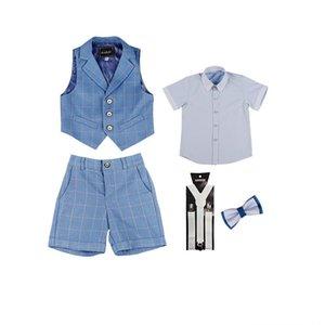 Children's suit summer Korean version of the plaid vest three-piece male boy children hosted the piano performance boy suit