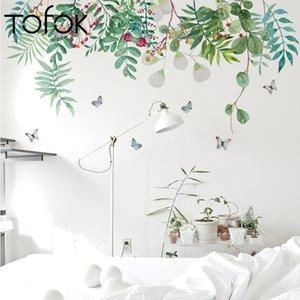 Coloré Beautiful Fleurs Vert Feuilles Vert Sticker Mur DIY Accueil Décoration Art Mural Decal Salon Délovible Fond d'écran