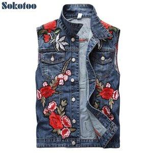 Sokotoo uomo fiore ricamo Beauty Patch Blue Denim Vest Fashion Rose Floral Ricamato Slim Tank Tank