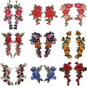 20pcs Embroidery Rose Flower Patch Applique Sewing Notions diy Crafts Stiker for Jeans Hat Bag Clothes Accessories Badges(Sew On or Iron On)