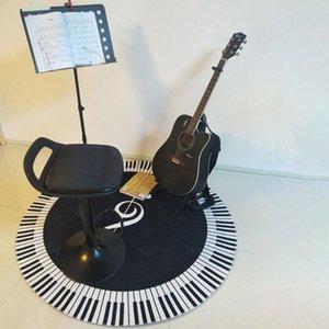 Carpets 60-120cm Round Carpet Music Symbol Piano Keys Black White Anti-Slip Rugs Foot Pads Bedroom Floor Diy Home Decoration