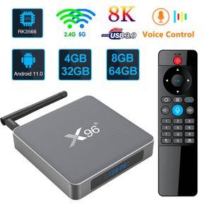 X96 x6 Android 11.0 Smart TV Box 8GB 64GB RK3566 DADE Core Player 2.4G 5G 2T2R WiFi Bluetooth Voz Control remoto aluminio aleación de aluminio TVBox 4GB 32GB