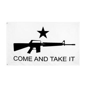Direkte Fabrikgroßhandel 90 * 150 cm 3x5FTs Gonzales Historische M4 Carbin Pistole Molon Labe Kommen Sie und nehmen Sie es an. Flag DWB5968