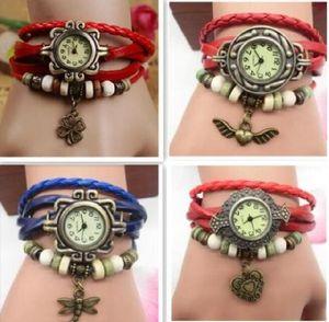 Femmes regardent style mixte vintage weave enveloppe autour de charme perle bracelet bracelet en cuir feuille papillon cheval eiffel tour heart wings hibou quartz montres