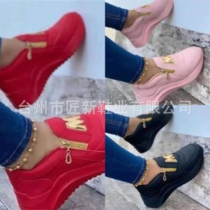 Spring new style side zipper thick soled one foot solid color casual shoes for women