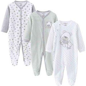 Baby Clothes 3Pcs set Cotton born Boy Girl Romper Long Sleeve Infantil Clothing Spring Animal Pajama roupas de bebe 210729
