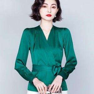 Women's Blouses & Shirts Silk Blouse Fashion V-neck Summer Korean Bow Satin Leisure Tops Long-sleeved Comfortable Houthion