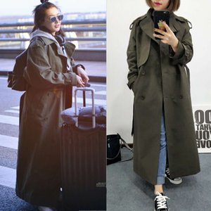 New Fashion 2020 Fall Restore Casual Double Breasted Turn Down Crack Classic Long Trenchcoat With Belt Chic Female Windjacket