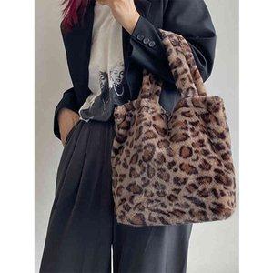 Female Leopard Shoulder Bag for Women 2020 Chain Large Plush Handbag Messenger Bag Soft Warm Fur Bag Winter New Lady Handbags C0326