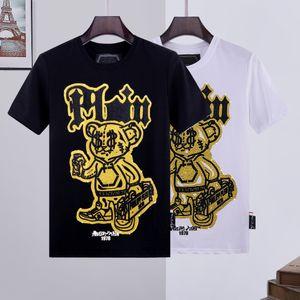 wholesale Hight quality PP skull tshirt Luxury T-Shirt men t shirt phillip plain Tshirts high grade cotton designs Couples Tee Male Top kanye off FI white