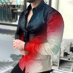 Men's Casual Shirts 2021 Spring Autumn Men Fashion Turn-down Collar Buttoned Shirt Digital Printing Long Sleeve Tops Streetwear