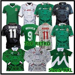 1998 1999 2000 Rétro Soccer Jersey 1995 1997 Edition Court 98 99 Mexique 95 96 97 Chemise de football Blanco Hernandez