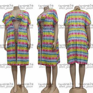 Colorful Bath Robe Bikinis Set Hipster Top Quality Women's Luxury Sleepwear Home Bathroom Oudoor Beach Designer Clothes