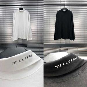 Erkek T-Shirt 1017 9SM Rulo Balıkçı Yaka Siyah Beyaz Erkek Kadın 1: 1 Yüksek Kaliteli Boyun Çizgisi Baskı Alys Tee Uzun Kollu T-shirt BRL1