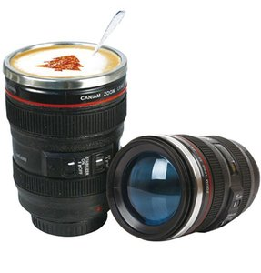 Creative 6th Generation 400ml Stainless Steel Liner Travel Thermal Coffee Camera lens Mug Cups with hood lid & bag packing 6RU4