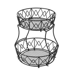 Корзина для хранения Съемные двухслойные круглые чаши в форме фрукты овощная корзина из тканых железной проволоки полый настольный стенд штабел
